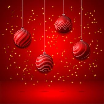 Фон набор сверкающих новогодних шаров с рисунком