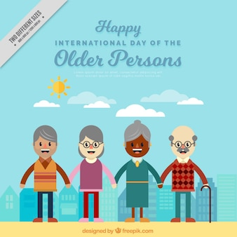 Background of several elderly people united in flat design