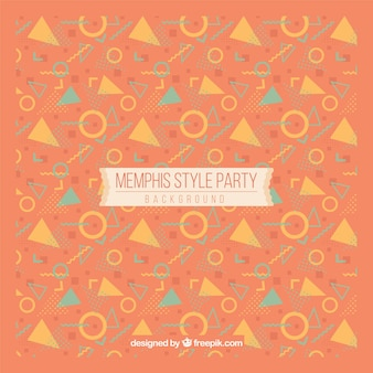 Background of shapes in memphis style