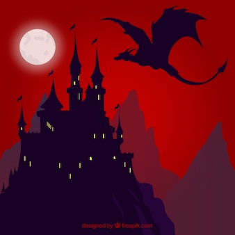 Background of silhouette castle with dragon flying