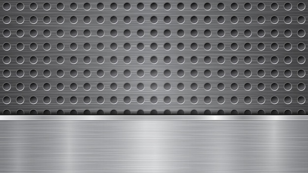Background in silver colors, consisting of metallic surface with holes and horizontal polished plate
