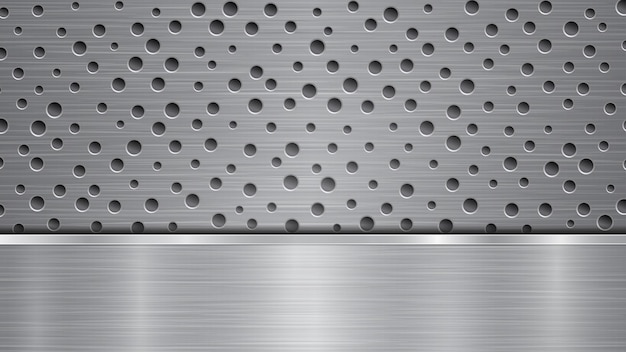 Background in silver and gray colors, consisting of a perforated metallic surface with holes and one horizontal polished plate located below, with a metal texture, glares and shiny edges