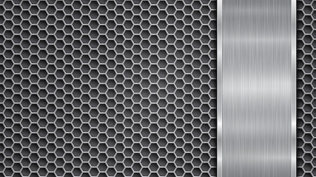Background in silver and gray colors, consisting of a perforated metallic surface with holes and one vertical polished plate located on right side, with a metal texture, glares and shiny edges
