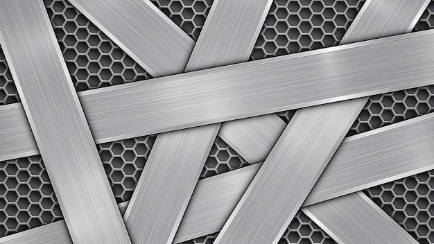Background in silver and gray colors, consisting of a perforated metallic surface with holes and several randomly arranged intersecting polished plates with a metal texture, glares and shiny edges