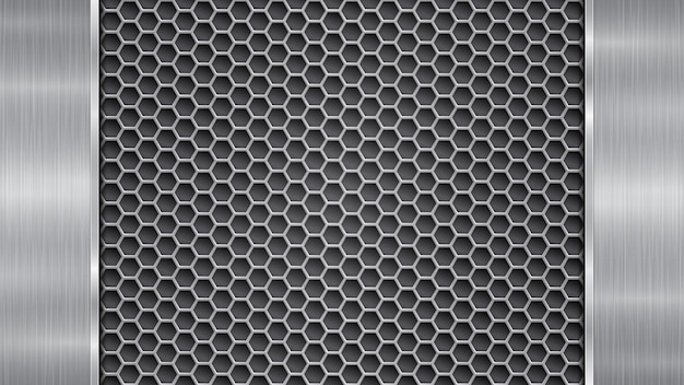 Background in silver and gray colors, consisting of a perforated metallic surface with holes and two vertical polished plates located left and right, with a metal texture, glares and shiny edges