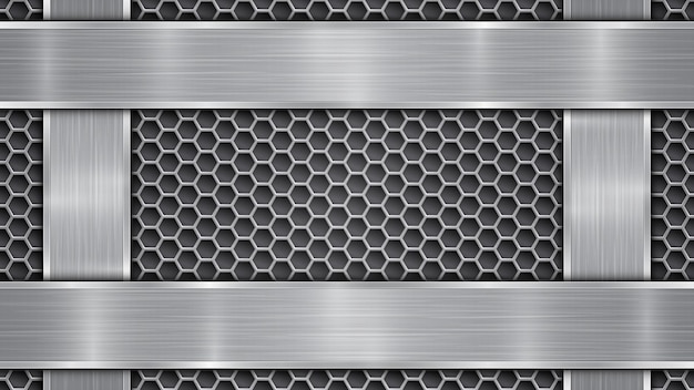 Background in silver and gray colors, consisting of a perforated metallic surface with holes and vertical and horizontal polished plates located on four sides, with a metal texture and shiny edges