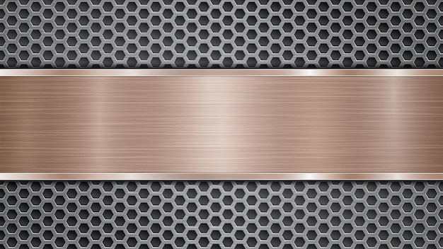 Background of silver perforated metallic surface with holes and horizontal bronze polished plate with a metal texture, glares and shiny edges