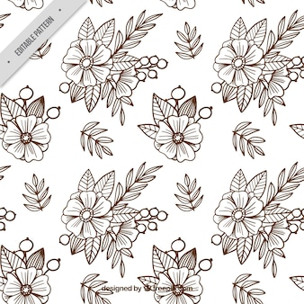 Background of sketches of flowers in batik style
