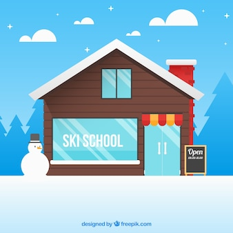 Background of ski school cabin in flat design