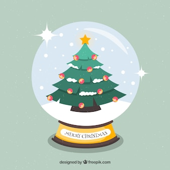 Background of snowglobe with christmas tree