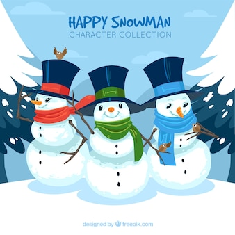 Background of snowmen with hat