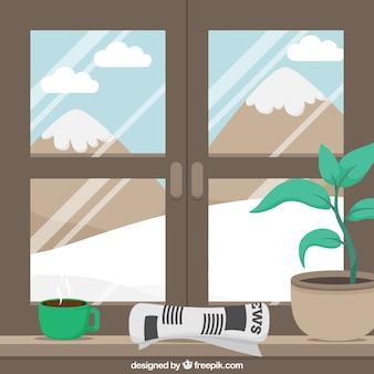 Background of snowy landscape through a window