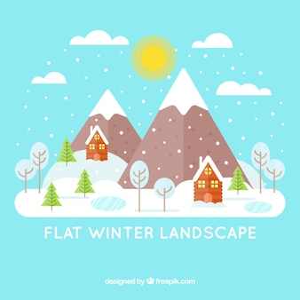 Background of snowy landscape with houses and mountains in flat design