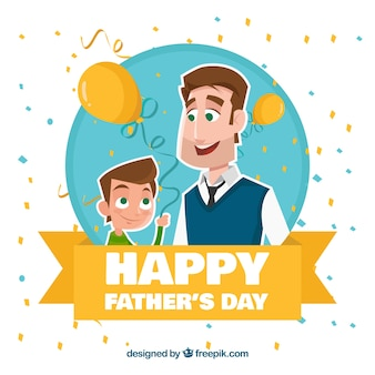 Background of son with his father and confetti Free Vector
