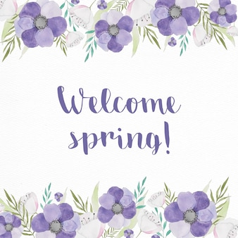 Background for spring with purple flowers