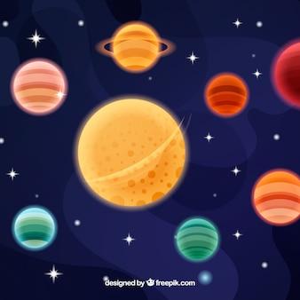 Sfondo di stelle e pianeti