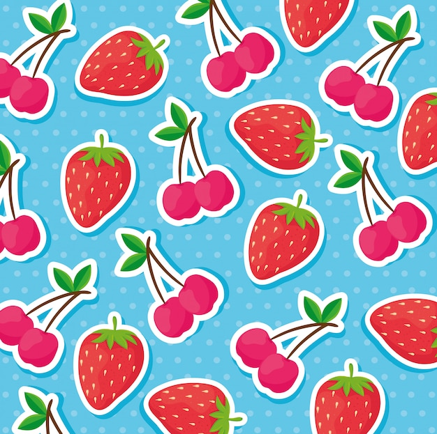 Background of strawberries and cherries