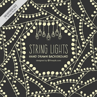 Background of string lights in retro style