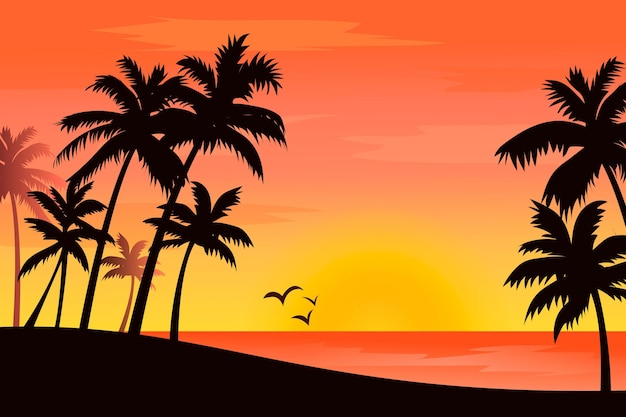 Background style colorful palm silhouettes