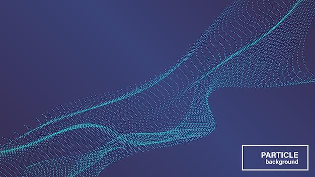 시안 색 도트 입자로 만든 배경 세련된 웨이브 메쉬