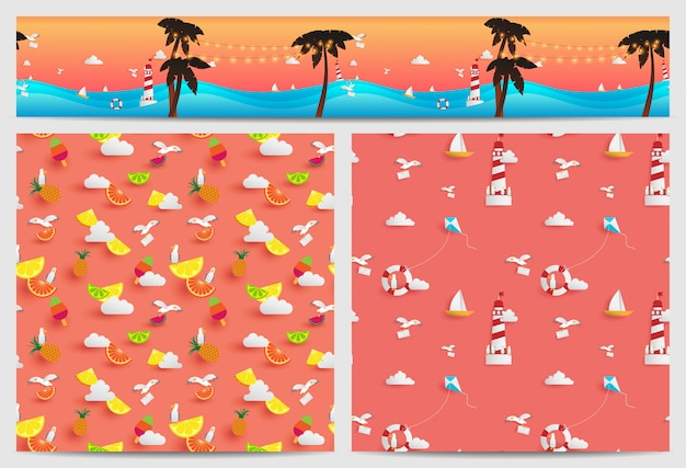 Background of summer decorated in square and parallax tile they are consist of paper craft elements