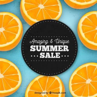 オレンジ色の背景の夏の販売