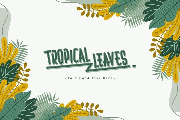 Background summer tropical leaf flat vector