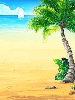 太陽のイラストと背景の夏休み
