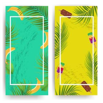 Фон лето с цветами, мороженым и бананами