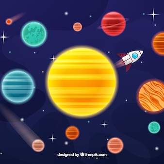 Background of sun with planets around and rocket