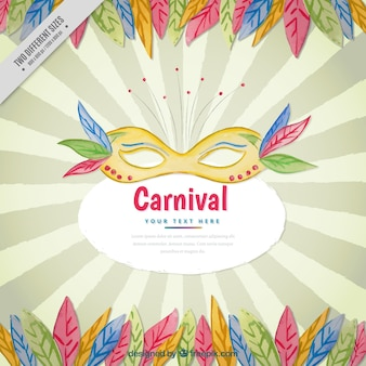 Background of sunburst with carnival mask and feathers