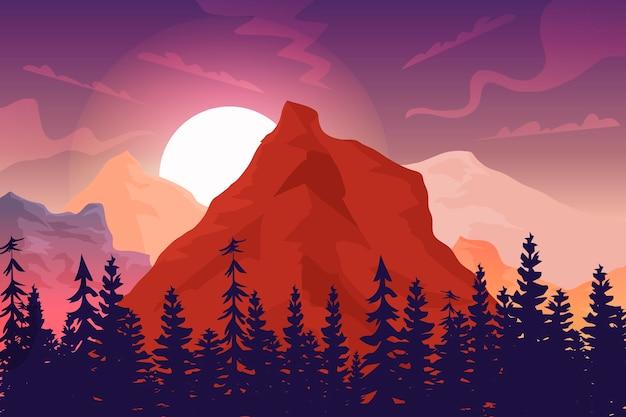 背景の日の出、大きな岩と森