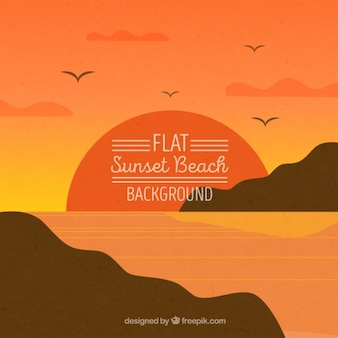 Background of a sunset, flat style