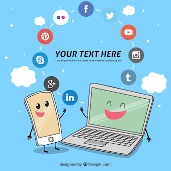 Background of technological gadgets with social media icons