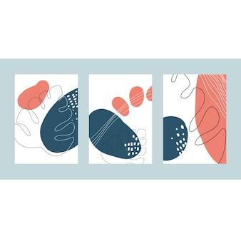 抽象的な色の形線画と自然な形による背景テンプレートデザイン