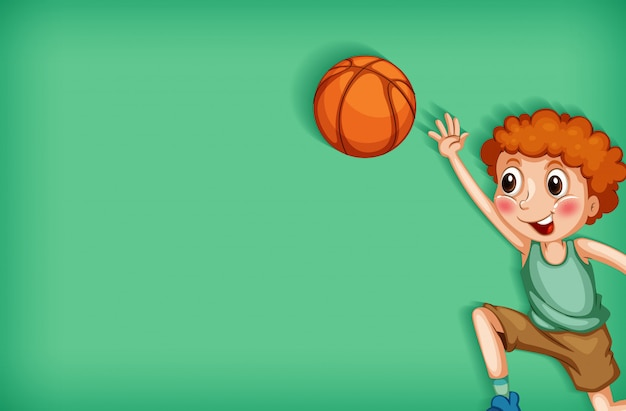 Background template design with boy playing basketball
