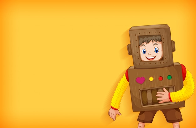 Background template design with boy in robot costume