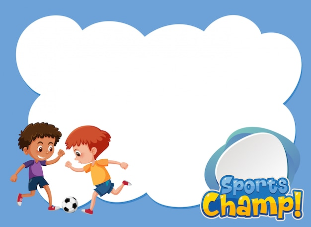 Background template design with boys playing soccer