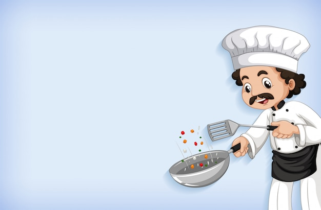 Background template design with happy chef cooking