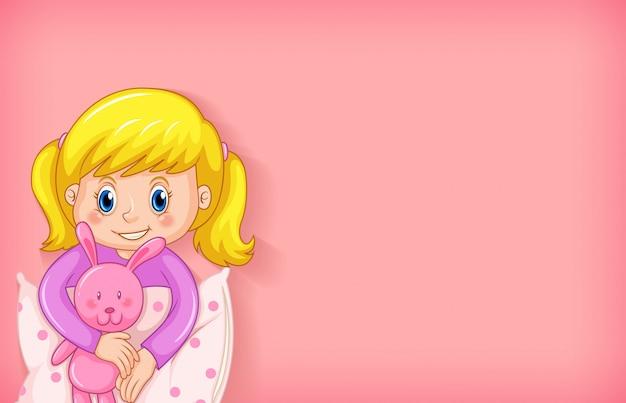 ピンクのパジャマで幸せな女の子と背景テンプレートデザイン