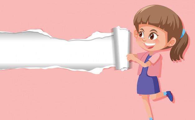 ピンクの紙に幸せな女の子と背景テンプレートデザイン