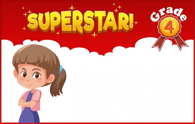 Background template design with happy girl and word superstar