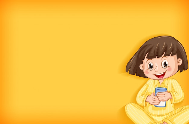 Background template design with happy girl in yellow pajamas