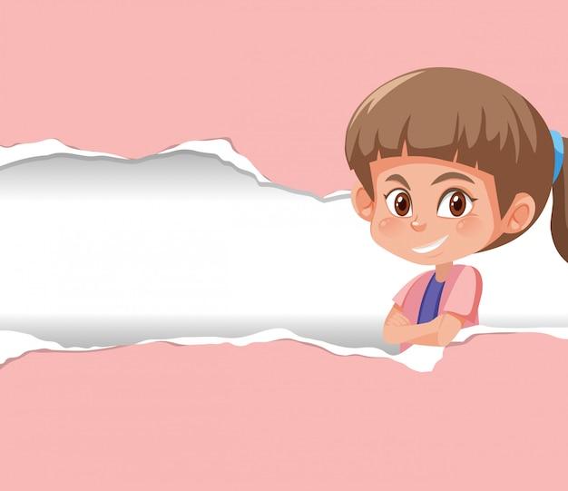 ピンクの紙に喜んでいる子供と背景テンプレートデザイン