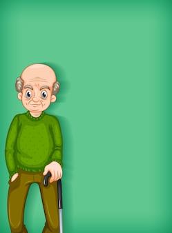 행복 한 노인과 배경 템플릿 디자인