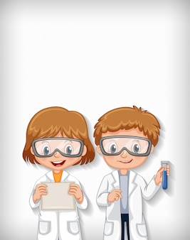 Background template design with happy science students
