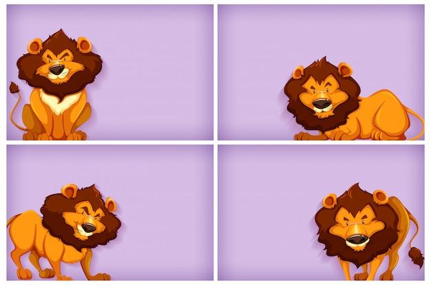 Фон шаблон дизайна с простым цветом и львами