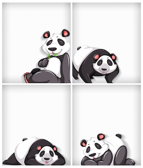 Background template design with plain color and cute panda