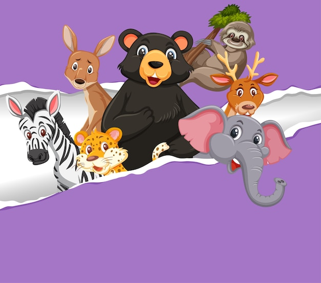 Фоновый дизайн шаблона с дикими животными на фиолетовой бумаге