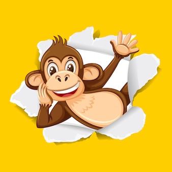 노란 종이에 야생 원숭이와 배경 템플릿 디자인